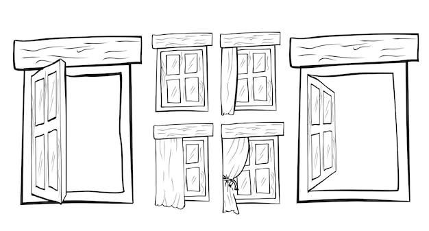 Set 6 semplici disegni vettoriali a mano schizzo di finestra e tenda