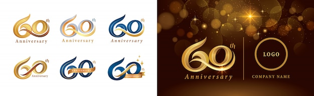Set di design del logotipo del 60 ° anniversario, sessant'anni che celebra il logo dell'anniversario