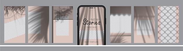 Set di 7 layout di storie sui social media con diverse ombre estive.