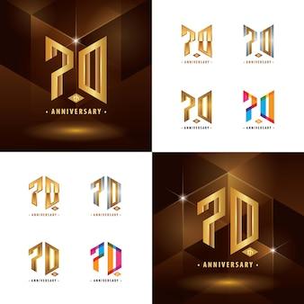 Set di design del logotipo 70 ° anniversario