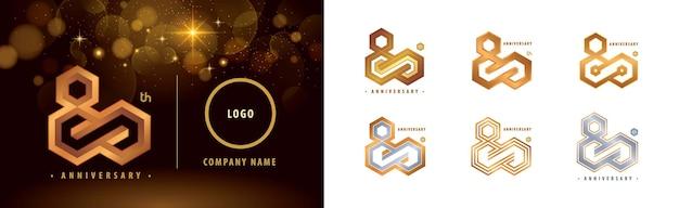 Impostare il logotipo 80th anniversary celebrazione dell'anniversario di ottant'anni 80 anni logo hexagon infinity