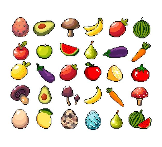 Set di icone grafiche a 8 bit pixel illustrazione vettoriale isolata pozioni di elisir di frutta funghi