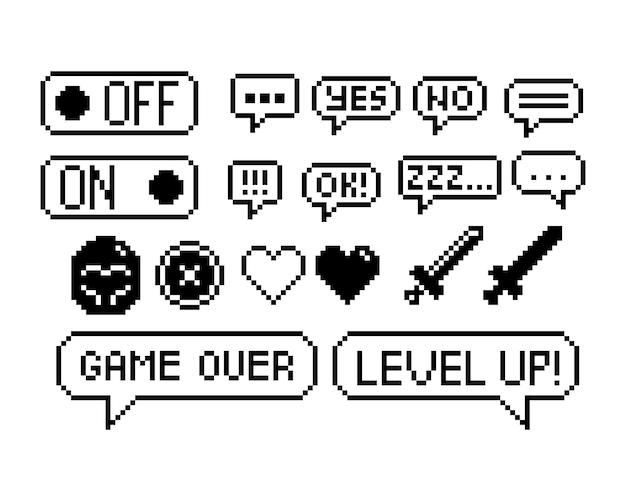 Set di icone grafiche pixel a 8 bit illustrazione vettoriale isolato game art immagine in bianco e nero