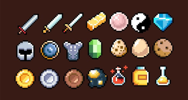 Set di icone grafiche a 8 bit pixel illustrazione vettoriale isolata arte del gioco pozioni di gioielli di armi