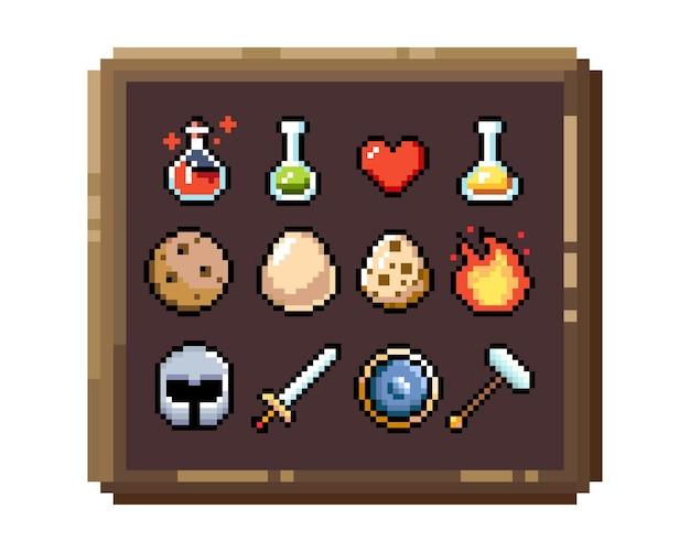 Set di icone grafiche pixel a 8 bit illustrazione vettoriale isolato arte del gioco gioielli di armi