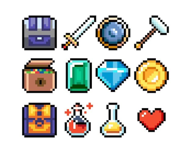 Set di icone grafiche a 8 bit pixel illustrazione vettoriale isolata pozioni di arte del gioco armi oggetti di valore