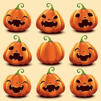 Set di 9 zucche realistiche carine con facce diverse per halloween. illustrazione vettoriale. isolato.