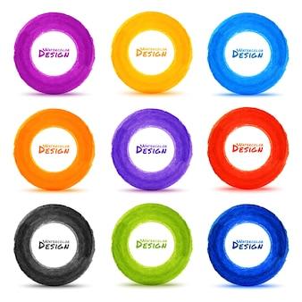 Set di 9 cerchi colorati disegnati a mano dell'acquerello, elementi di design