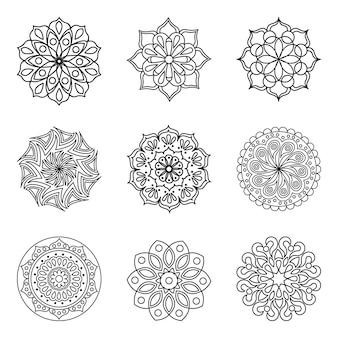 Set di 9 contorni di mandala vettoriali. modelli rotondi isolati per la colorazione. pagine da colorare.