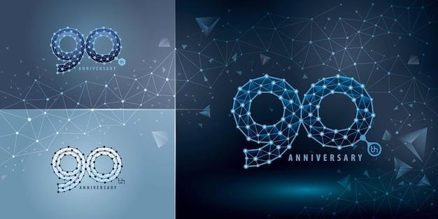 Set di design del logo del 90 ° anniversario novant'anni celebrando il logo dell'anniversario per la connessione di rete dot polygon geometric
