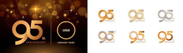 Set di 95 ° anniversario logotipo design, novantacinque anni celebrate anniversary logo più linee Vettore Premium