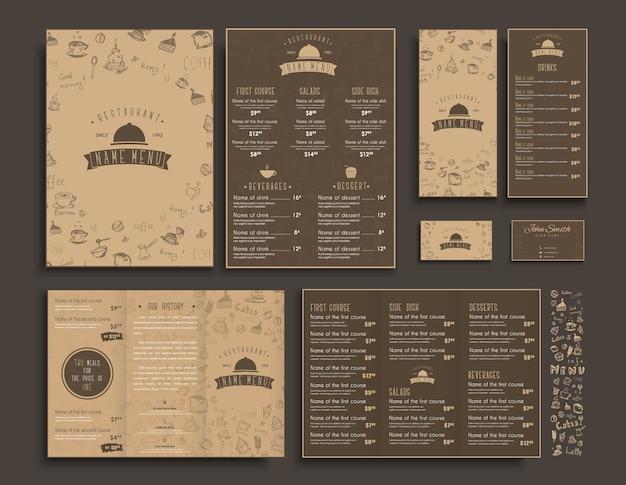 Set di menu a4, opuscoli pieghevoli e volantini stretti per un ristorante