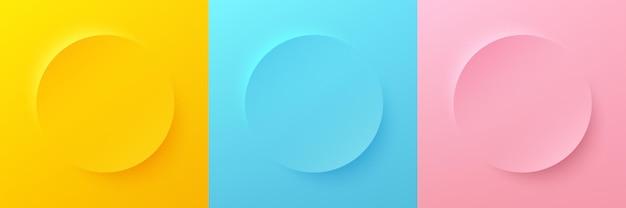 Set di astratti 3d di colore giallo brillante blu e rosa pastello cerchio cornice per prodotto cosmetico