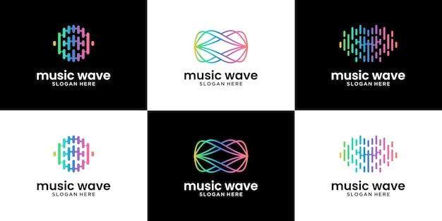 Set di design del logo astratto dell'onda audio