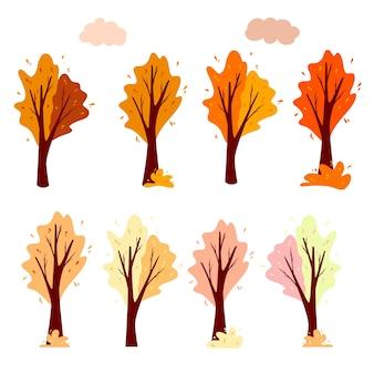Impostare l'albero e la nuvola autunnali astratti. pianta ornamentale. stile cartone animato. illustrazione vettoriale per la progettazione di cartoline, striscioni.