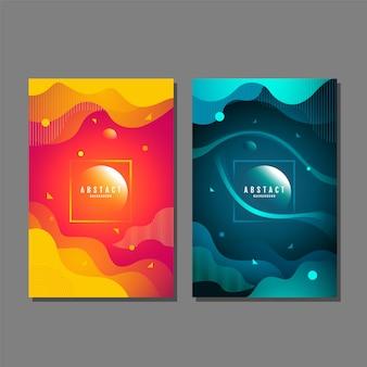 Set di sfondo astratto, liquido, fluido, design texture, layout del modello