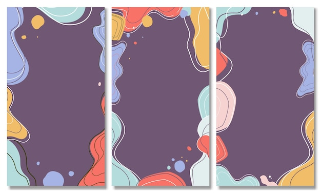 Set di sfondi astratti sfondo pastello astratto sfondo moderno alla moda stile memphis