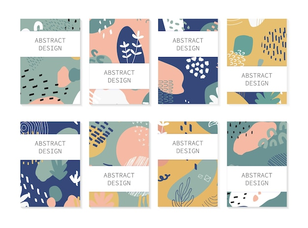 Set di sfondi astratti. disegno disegnato a mano per stampa flyer e web. colori pastello e luminosi.