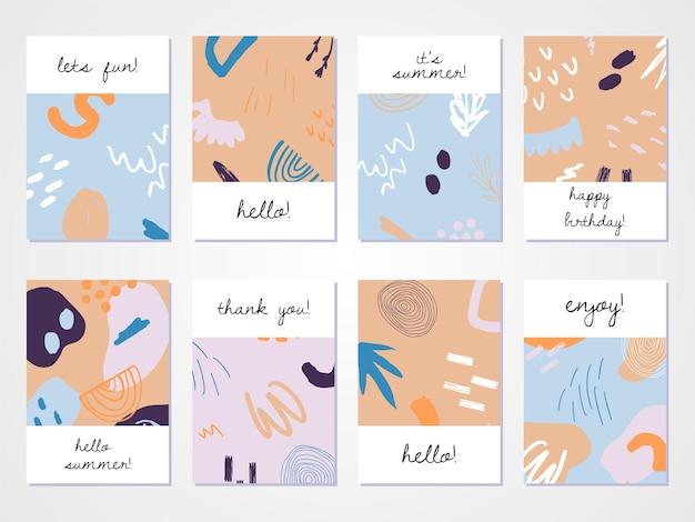 Set di sfondi astratti disegnati a mano design