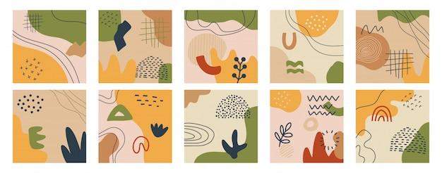 Set di sfondi astratti. illustrazione alla moda moderna forme disegnate a mano. stampa d'arte minimalista moderna di metà boho secolo