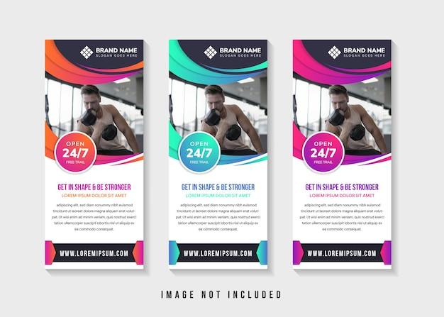 Set di design modello banner astratto con titolo è mettersi in forma ed essere più forti. layout verticale.