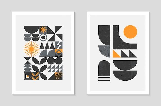 Set di sfondi astratti modello geometrico bauhaus. design geometrico minimalista alla moda con forme ed elementi semplici. illustrazioni vettoriali artistiche moderne di metà secolo. ornamento scandinavo.