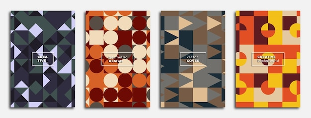 Set di poster con motivi geometrici astratti bauhaus