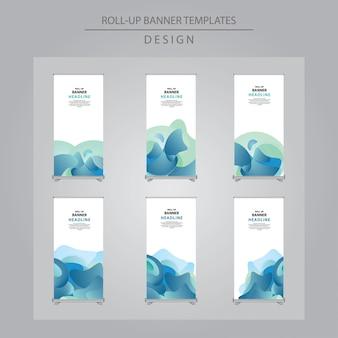 Set di astratto blu roll up design banner
