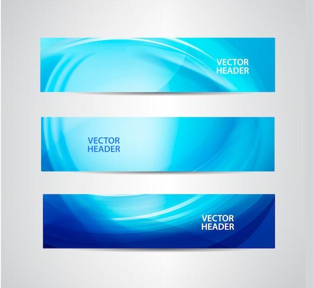 Set di intestazioni ondulate blu astratte, banner di flusso d'acqua.