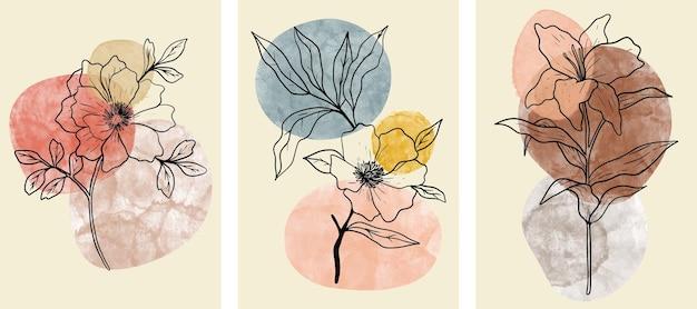 Set di arte astratta della parete botanica con foglie astratte.