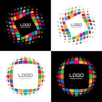 Set di logo astratto mezzetinte brillante. vettore
