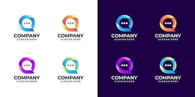 Set di gradiente di logo chat bolla astratta