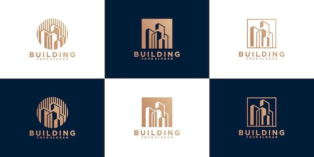 Insieme del modello di logo di edificio astratto