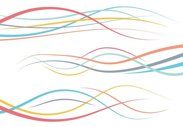 Set di linee curve di colore astratto. elemento di disegno dell'onda. illustrazione vettoriale.