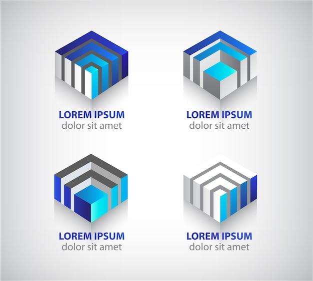 Set di loghi cubo geometrico colorato astratto