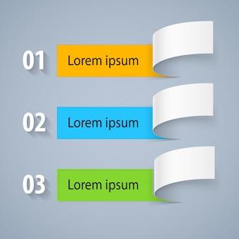 Set di abstract provenienti da un lato del pezzo di informazioni cartacee