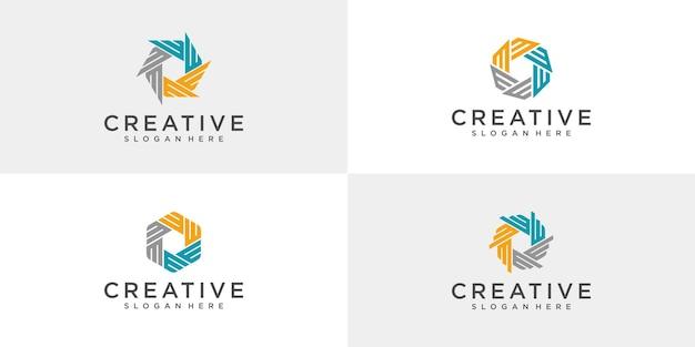Set di disegni del logo della comunità astratta.