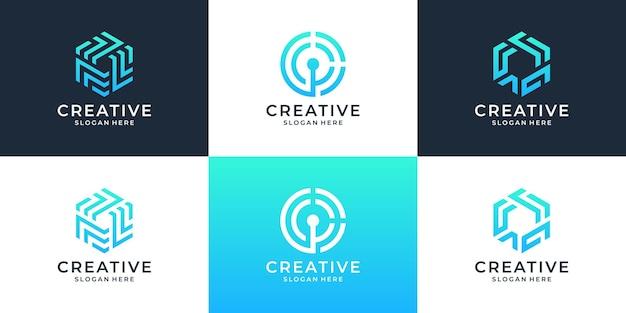 Set di elementi di design del logo aziendale astratto.
