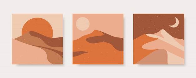 Set di astratta illustrazione contemporanea del deserto