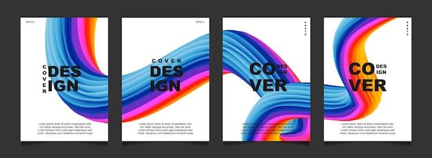 Impostare la copertina astratta con forma fluida su sfondo bianco