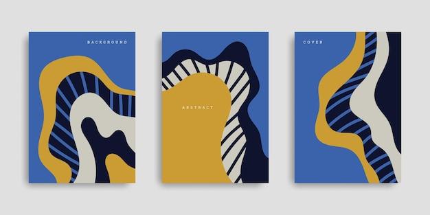 Set di copertine astratte con forme ondulate in stile disegnato a mano