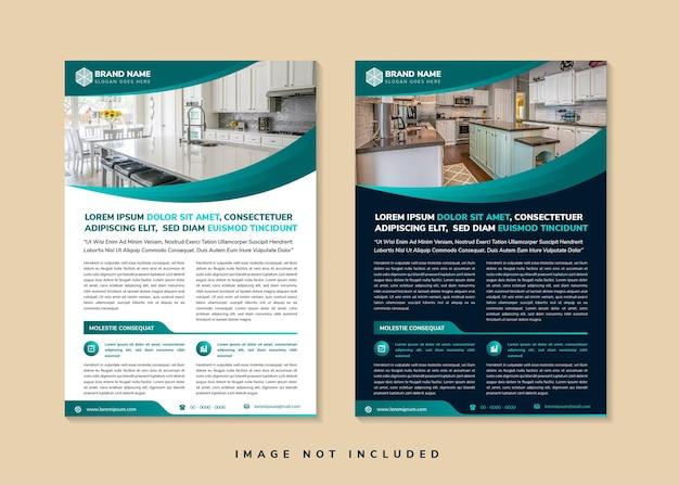 Set di modello di volantino geometrico curva astratta per il layout verticale di promozione aziendale