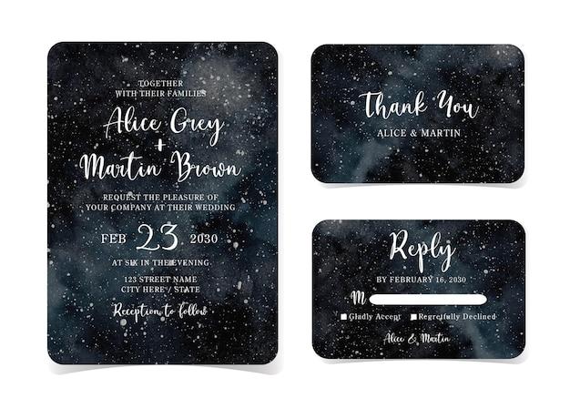 Set di spazio profondo astratto con carta di invito a nozze galassia stellata