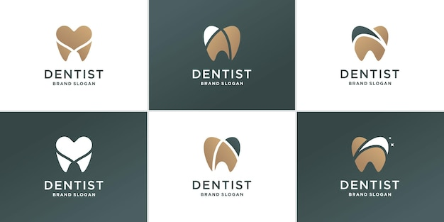 Insieme del logo astratto del dentista con il concetto di diversi elementi creativi vettore premium