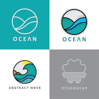 Set di disegno astratto di logo oceano