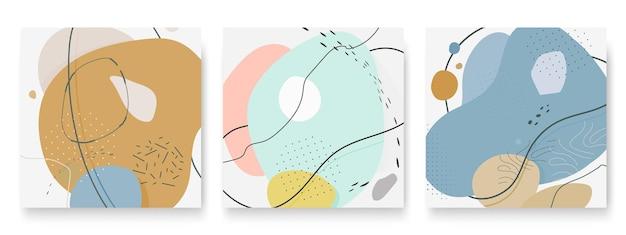 Set di sfondo diverso astratto forma d'arte dinamica organica per storie di social media