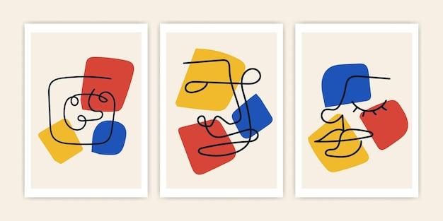 Set di arte linea viso astratta con stile alla moda. disegno astratto copertina vettoriale.