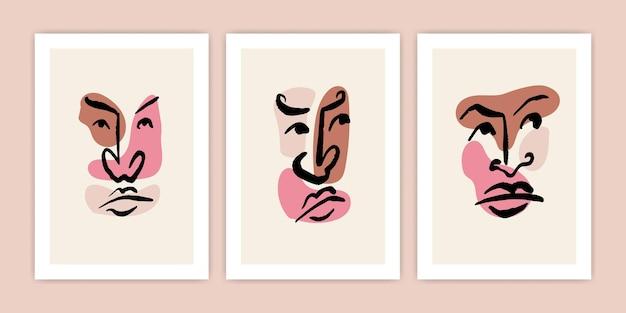 Set di volti astratti per l'illustrazione del poster