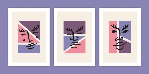 Set di faccia astratta con illustrazione di forma geometrica