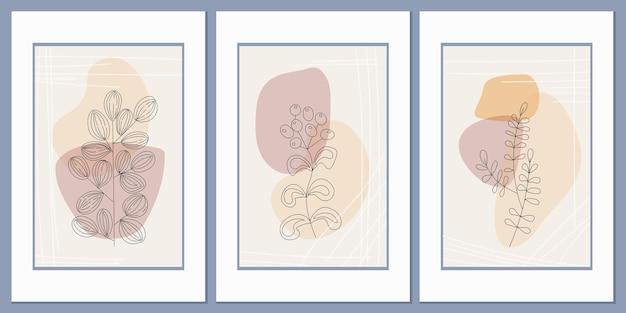 Set di poster di erba di campo astratto su uno sfondo di forme e linee geometriche astratte